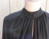 DRESS - Black and White Polka Dot Vintage Dress Sz L