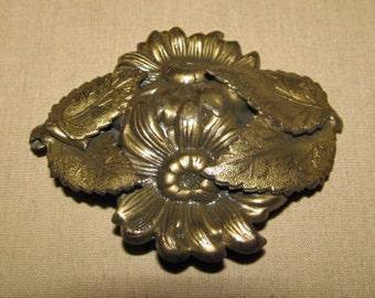 C. 1960's High Relief Stamped Brass Flower Brooch