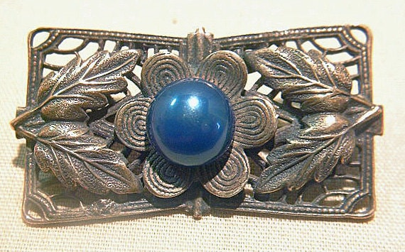 C. 1920's Sweater Pin/Brooch with Blue Stone