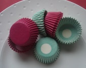 Mini Cupcake Liners Hot Pink and Jade Stripe -  Baking Cups  (70)