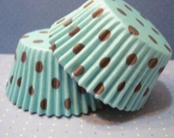 Cupcake Liners - Baking Cups - Aqua with Brown Polka Dot (50)
