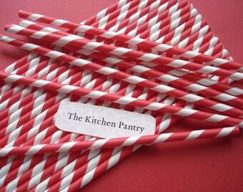 Red Striped Straws (25) - Paper Straws