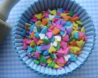 Pastel Heart Sprinkles Rainbow Mini  Sprinkles for  Cupcakes or Cookies (2 oz jar )