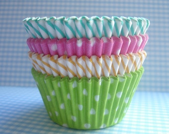 """Mini Cupcake Liners - Baking Cups """" Spring Mix """"(75)"""