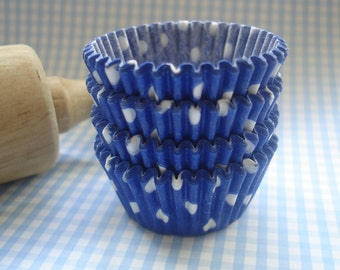 Mini Blue Cupcake Liners, Candy Cups Polka Dots  Baking Cups ( 50 )