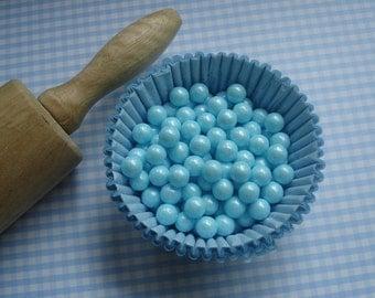 Blue  Sugar Pearls Candy Bead Sprinkles - Large  pearls (2 oz )  Cupcakes or Cookies