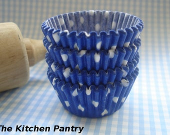 Mini Blue Cupcake Liners, Candy Cups Polka Dots  Baking Cups ( 70 )