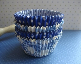 """Mini Cupcake Liners Blue Baking Cups (70) """" Blue Skies """" Plaid and Dots"""