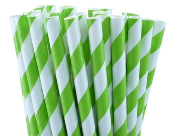 Paper Straws -Lime  green Stripes  (25 count) -