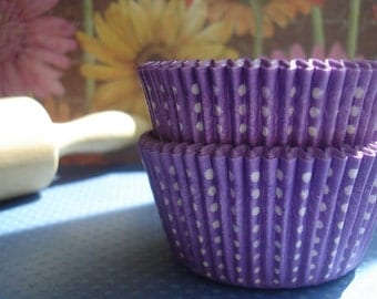 "Cupcake Liners -  Purple Baking Cups -   Purple Polka Dot  Cupcake Liners   "" Little Dotty  ""   (50)"
