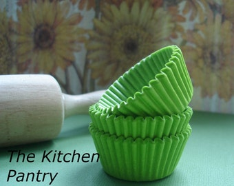 Solid Green Mini  Cupcake Liners  Lime Green  baking Cups (50)