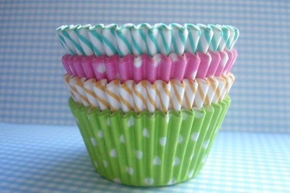 "Mini Cupcake Liners - Baking Cups "" Spring Mix ""(75)"