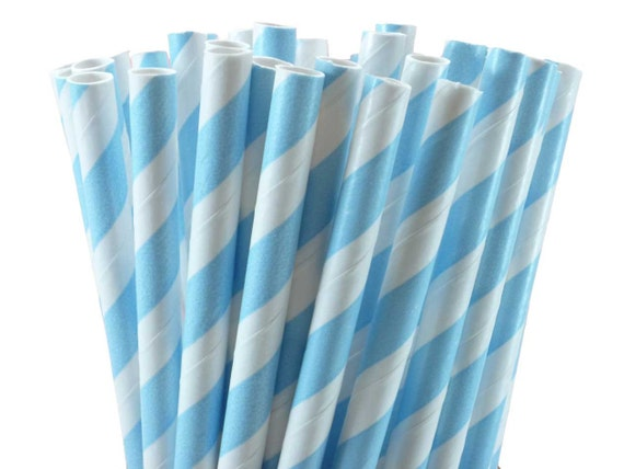 Baby Blue Striped Paper Straws, Party Straws, Party Favors (100)