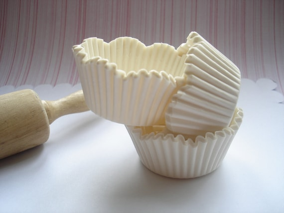 Pure White Scallop Cupcake Liners, Specialty Baking Cups (70 ) Perfect Wedding