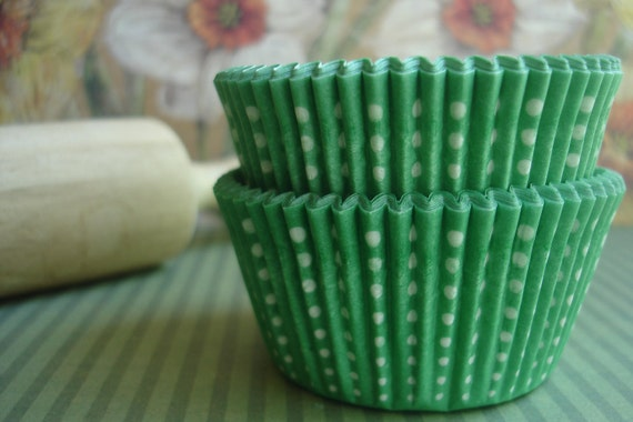 """Cupcake Liners - Baking Cups -  Hard to Find  """" Little Dotty  """"  Green  (50)"""