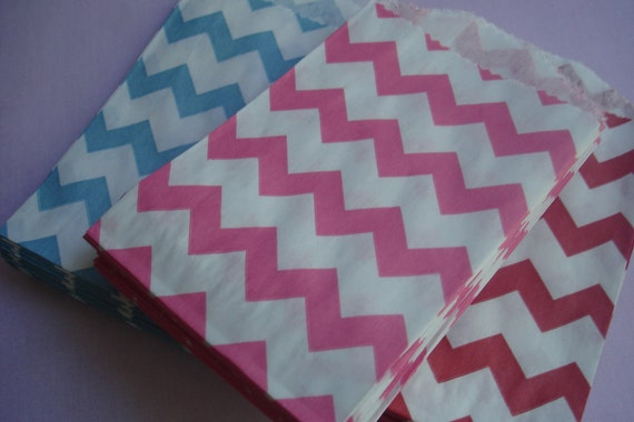 Mini Paper Favor Bags - - Bright Pink  Chevron Treat Bags - Packet of 20  Pink