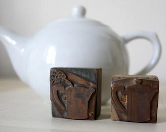 TEATIME-Vintage Italian Printers block . TEAPOT designs - Copper metal stamp