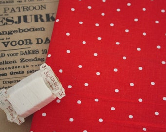 Vintage Red Polka dot  fabric