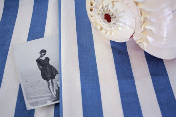 RESERVED // SUMMER in PORTOFINO. vintage italian striped fabric. Blue and white stripes.