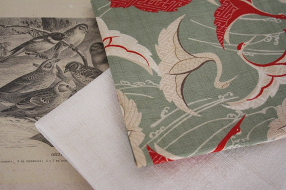 Antique italian hand woven linen with japanese cotton fabric