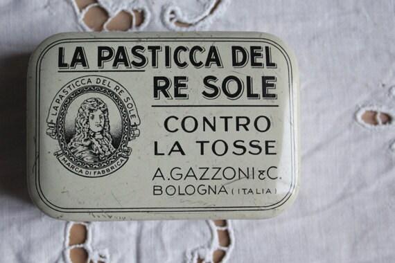 Antique italian pill box. Apothecary box. Tin box