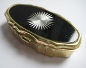 Unusual Black and Silver Vintage Pill Box