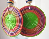 Green ,orange, colorfull  circles earrings.Polymer clay. Wire wrapped.