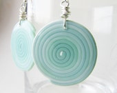 Mint round dangle earrings.  Geometric swirl shape Tender summer fashion polymer clay OOAK Wire wrapped