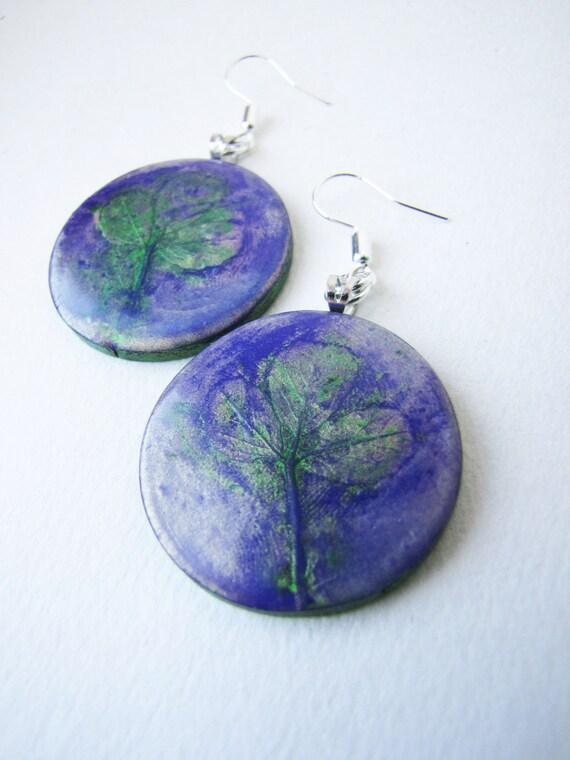 SALE Purple earings.  Clover earrings. Polymer clay.   Round purple earrings OOAK
