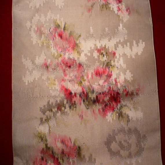 """19th century French Watered Silk Roses 5 3/4"""" Watered Silk Ribbon Passementerie Roses Piece A"""