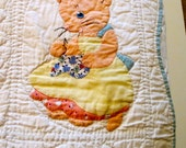 Antique Appliqued Baby Quilt with 12 Cats in Traditional Women Roles