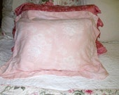 Cottage Chic Vintage Pink and White Standard Shams  Roses (2)