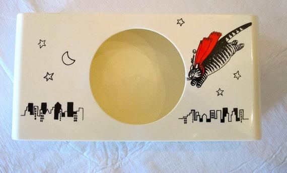 Flying Cat- Vintage Tissue Box