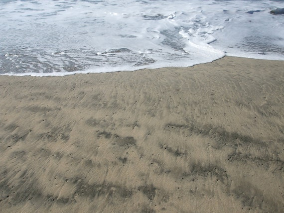 REDUCED PRICE/SALE-Sand and Surf--matted and framed photo in Half Moon Bay