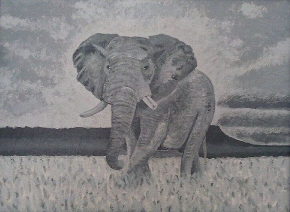 Beauty and Grace--grey scale black and white elephant acrylic painting on canvas board