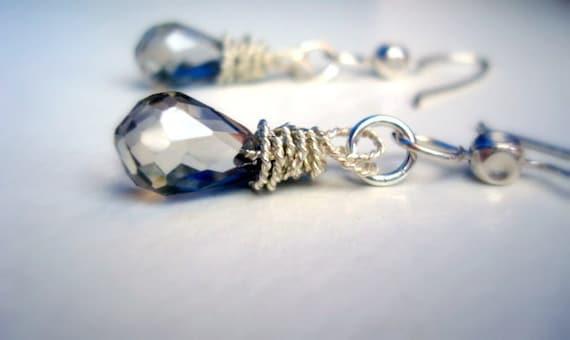 Dangle Earrings - Wire Wrapped Shiny Glass Briolette Dangle Earrings