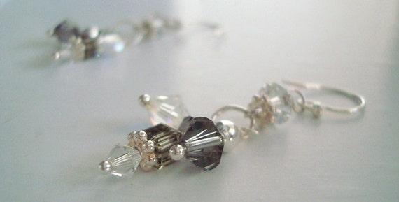 Dangle Earrings - Black Diamond and Crystal Swarovski - Free Shiiping in the USA
