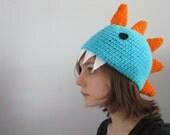 Crocheted Dinosaur Hat Blue and Orange
