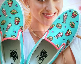 Katy Perry aqua fast food kimono print brand new handpainted  burger fries classic ERA slip on VANS