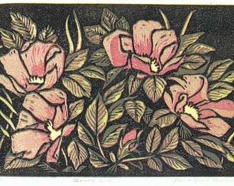 Beach Rose Block Print