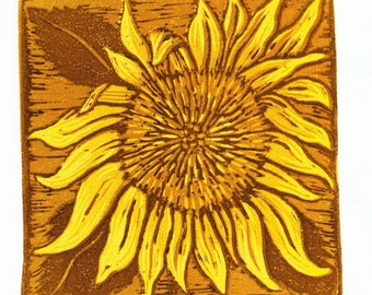 Sunflower Block Print