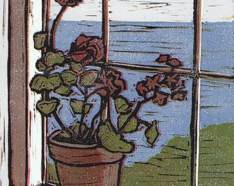 Geranium Window Block Print