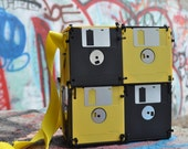 Geeky Floppy Disk Bag - Bumble Bee, Lunch Box, Purse, Card Bag, Yellow, Black, for Nerdy Nerds
