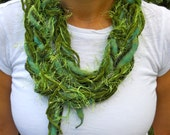 Lucky Green Braided Scarf Necklace