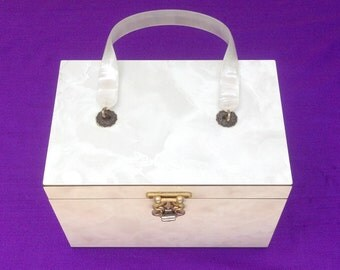 SALE Very RARE 1950s MIKA Beautiful Box Purse Ladies Handbag with Lucite handle Shop or Layaway for Birthdays Christmas Anniversary Wedding