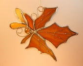 Stained Glass Suncatcher. Creamy Amber Glass Maple Leaf.