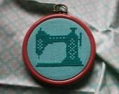 Sewing Machine - Miniature Cross-Stitch Hoop