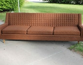 Vintage Mid Century/Modern Sofa - Chocolate Brown with Caramel Highlights
