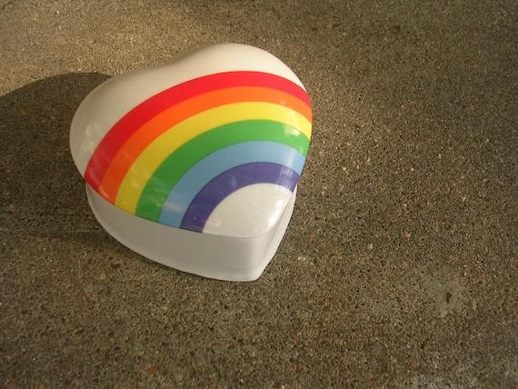 Vintage 1980s Glass Heart Jar with Rainbow