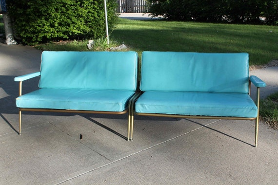 Items Similar To Vintage Turquoise Vinyl Sofa 1950s